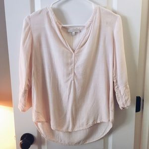 Tops - Flowy Casual V-Neck Blouse • Baby Pink